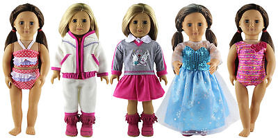 New 5 set Doll Clothes for 18'' American Girl Doll Princess Dress Costumes