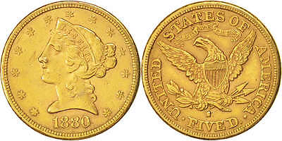 [#504207] United States, Coronet Head, $5, Half Eagle, 1880, San Francisco