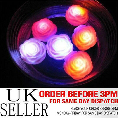 6 x Waterproof Multi-colour Floating LED Water Rose Light Bath SPA Candles