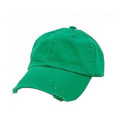Distressed Vintage Polo Style Low Profile Baseball Cap Kelly Green