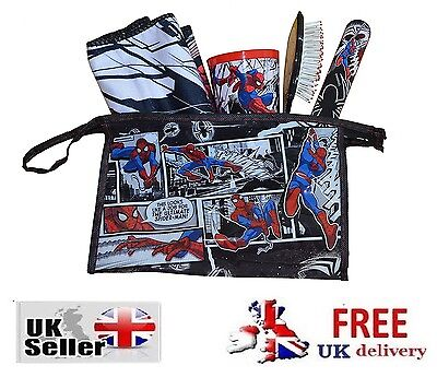 Spiderman 5 Piece Travel Kit Wash Bag Holiday Childrens Sleepover kids