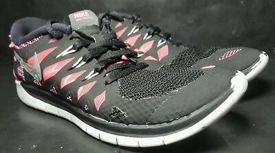 Nike Free 5.0 Athletic Running Sneaker Shoes Girl Size 4.5 Youth Black Pink Nice