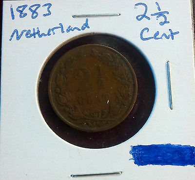 1883 Netherlands 2 1/2 Cent Coin [Ori]