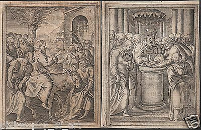 2 Engravings 16th Century Palm Sunday / Circumcision of Christ - Holy Card