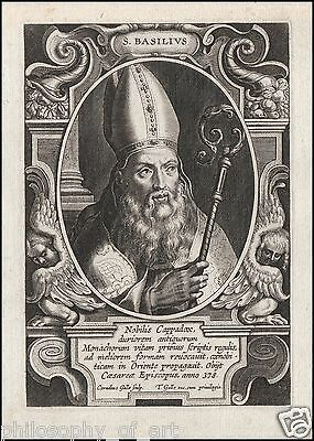Saint BASIL - Th. Galle 17th Century Engraving Orthodoxy Orthodox Chruch