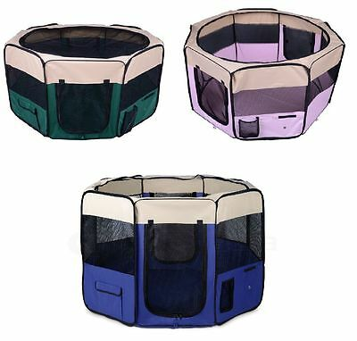 Portable 8 Panels Soft Folding Pet Playpen For Dog Cat Puppy Blue Pink & Green