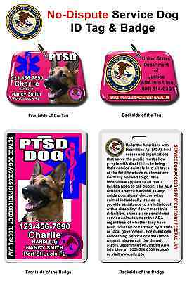 Service Dog PTSD ID Tag and Badge PHOTO ID card customize with your dog info
