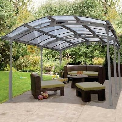 Large Garden Pergola Steel Frame Carport Outdoor Shade Cover Gutters Roof Panel