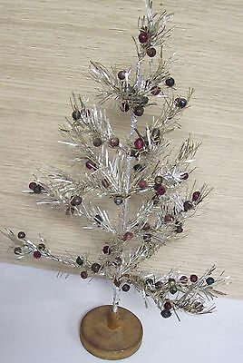 Vintage Christmas Tabletop TINSEL Tree w/ Ornaments