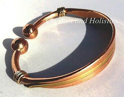 MAGNETIC Solid Pure COPPER inlaid with BRASS TORQUE Bracelet Bangle ( M35 )
