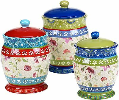 3 Piece Ceramic Canister Set Kitchen Counter Coffee Food Storage Container Jars