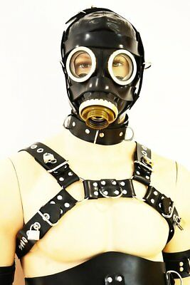 BlackRuBB Latex Brustharness Maßanf. abschl. Rubber Bondage Harness Anzug Maske