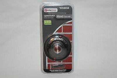 Utilitech Lighted Wired Door Bell Button LED Dark Oil Rubbed Bronze Finish NEW