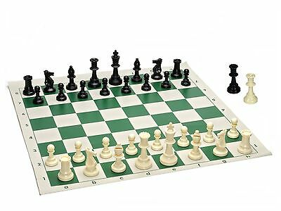 Best Value Tournament Chess Set - 90% Plastic Filled Chess Pieces and Green Roll