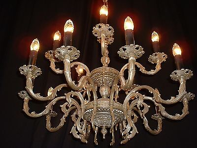 Vintage old Large French brass chandelier silver finish 2 tier