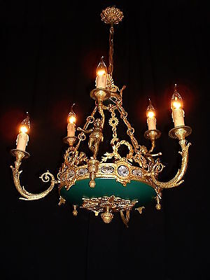 Vintage large French bronze chandelier with caryatides – cherubs Empire style