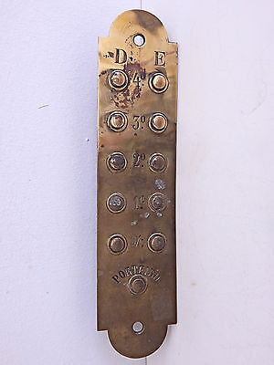 Vintage Brass Elevator Push Button Panel Plate Antique Architectural Salvage