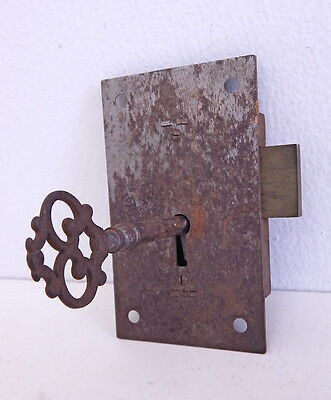 Antique Eagle Door Trunk Lock & Skeleton Key