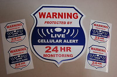 4 cellular 1 Yard sign LIVE  Alarm SECURITY SURVEILLANCE DECAL STICKER WINDOW