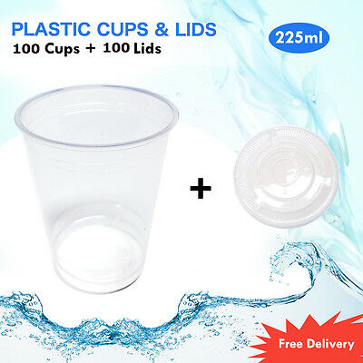 Disposable Plastic Cups+Lids Clear Reusable Drinking Water Beer Cups 225ml 100Pk