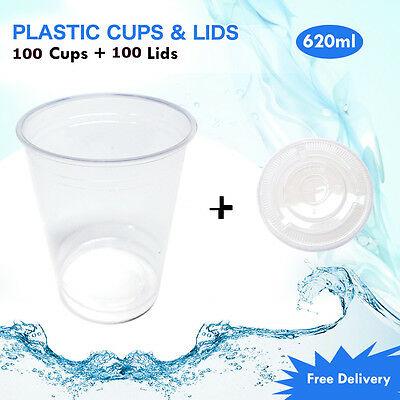 Disposable Plastic Clear Cups With Flat Lids 100pc 620ml Drinking Water Cup Bulk