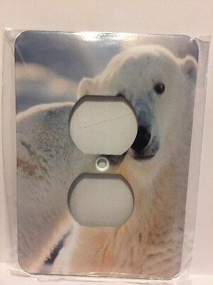 3d Rose Two Plug Outlet Cover. Polar Bear