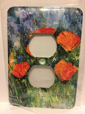 3d Rose Two Plug Outlet Orange Poppies
