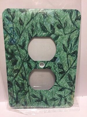 3d Rose Two Plug Outlet Cover. Green Leaves