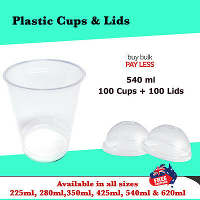 Disposable Plastic Clear Cups With Dome Lids 100pc 540ml Drinking Water Cup Bulk
