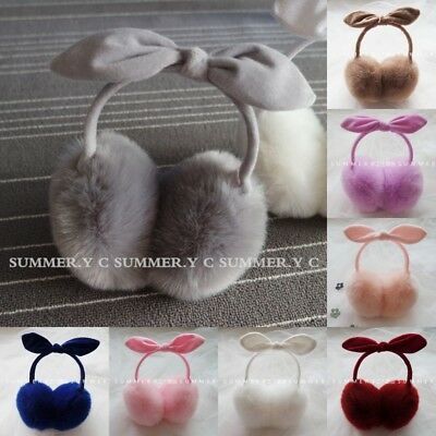 Charming Faux Fur Girl Warm Earmuffs Lovely Bowknot Plush Ear Cover Kid's Gifts