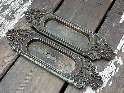 "2 VTG Old Large 8 3/8"" FANCY Cast BRASS Door Keyhole Pocket Pull Backplate"