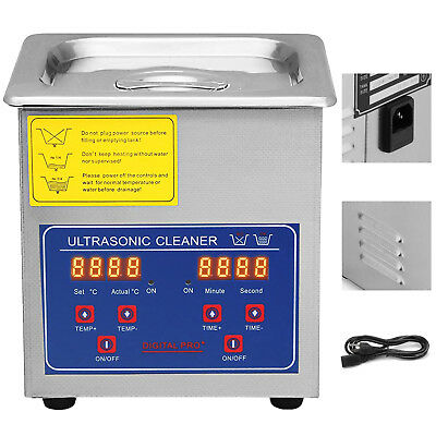 New Stainless Steel 1.3L Liter Industry Heated Ultrasonic Cleaner Approved