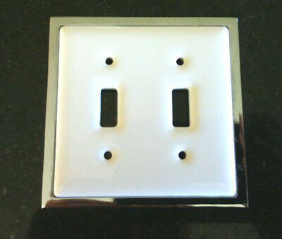 New White CERAMIC Chrome Border DOUBLE SWITCH PLATE COVER