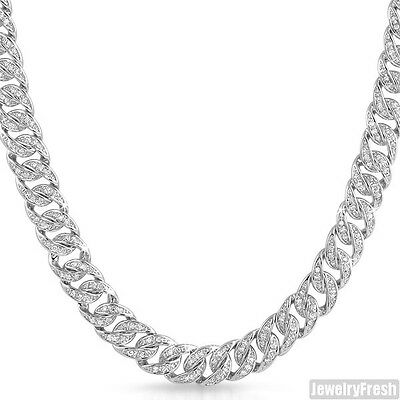 925 Sterling Silver Iced Out Miami Cuban Chain Mens Necklace 10mm