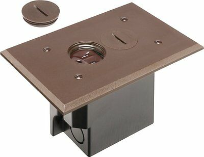 Arlington FLBR101BR-1 Floor Electrical Box Kit with Outlet and Plate, for Brown,