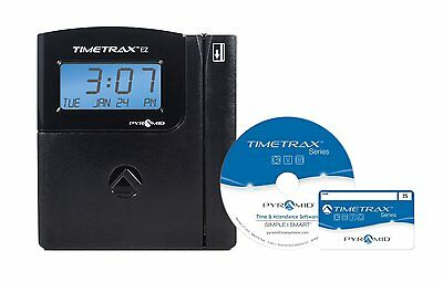 Pyramid TimeTrax TTEZ Auto-Totaling Swipe Card Time Clock System Complete with -