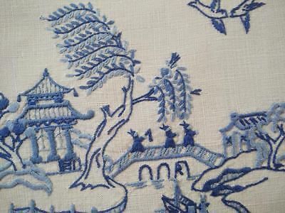 Vintage Blue Willow Centrepiece/Mat ~ Hand Embroidered & Hand Crochet Edge
