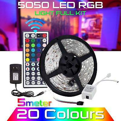 5M RGB 5050 Waterproof LED Strip light 300 SMD 44 Key Remote 12V Supply Power