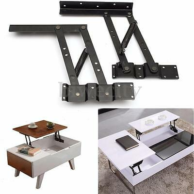 2Pcs Lift Up Top Coffee Table Lifting Frame Mechanism DIY Spring Hinge Hardware