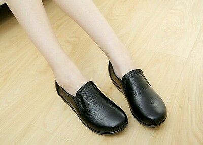 AU SZ 5 Women's Black Leather Upper Comfort Slip-on Nursing Working Shoes