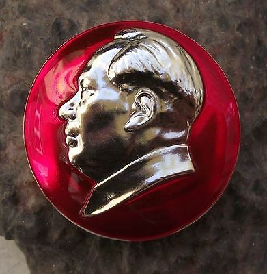 Large Red Chairman Mao Tse Tung Cultural Revolution Communist China Pin Badge
