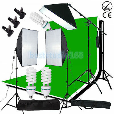 Photo Studio 2025W Softbox Continuous Lighting kit Boom arm Backdrop Light Stand