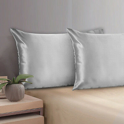 100% Mulberry Pure Silk Pillow Case /Cover QUEEN STANDARD - 19 MOMME SILVER GRAY