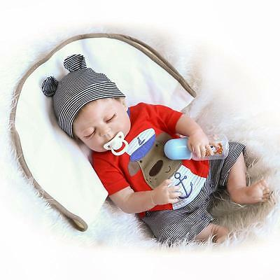 "22"" Full Body Silicone Reborn Sleeping Boy Doll Soft Vinyl bagno Baby Bambole"