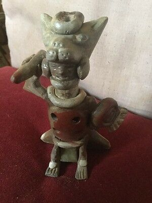Old Mayan Ceramic Clay Figural Whistle Tribal Figure Holding Shield & Weapon