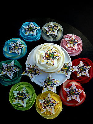 20 Merry Christmas Stars Precut Xmas Cup Cake Edible Rice Wafer Paper Toppers