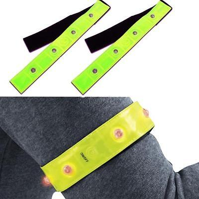 Safety Reflective Yellow Armband Red LED Lights Running Cycling Night Walking