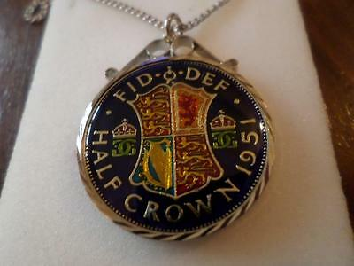 Vintage Enamelled Half Crown Coin 1951 Pendant & Necklace. Birthday Present