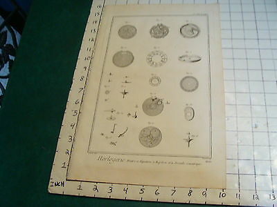 "Original engraving 1760's 10 1/2 x 16"" montre a equation a repetion et a seconde"