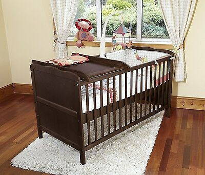 Isabella Cot Bed/Junior Bed With Foam Safety Mattress & Cot Top Changer- Walnut